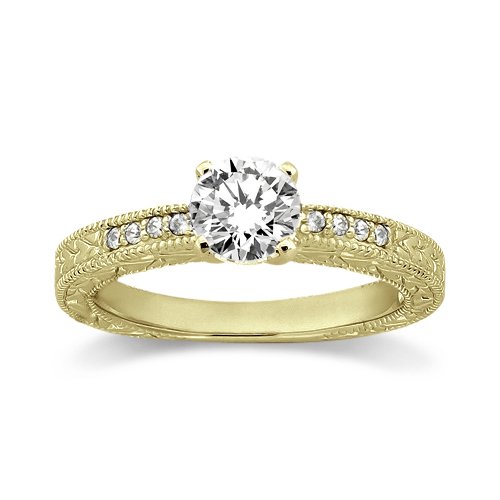 0.20ct Vintage Style Diamond Engagement Ring Setting 14k Yellow Gold