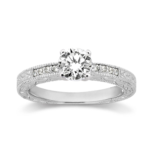 0.20ct Antique Style Diamond Engagement Ring Setting 18k White Gold