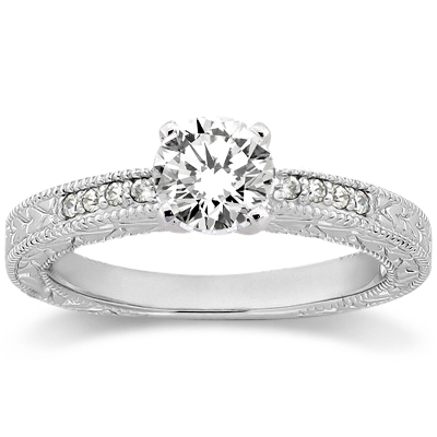 0.20ct Antique Style Diamond Accented Engagement Ring Setting Platinum