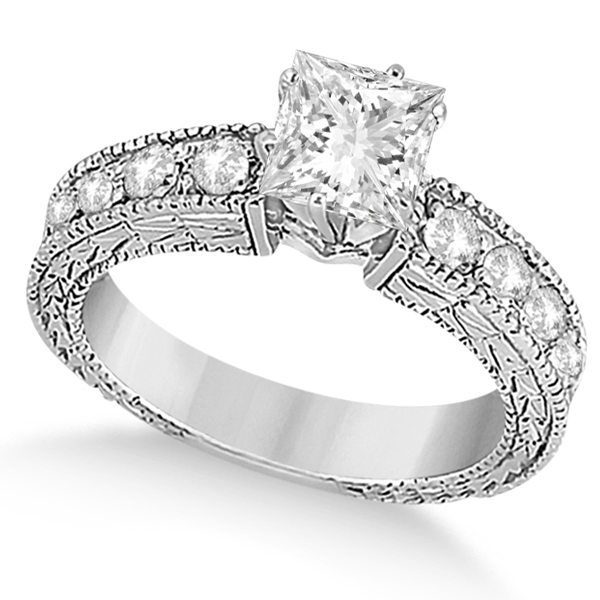 Princess-Cut Diamond Vintage Engagement Ring 14k White Gold (1.75ct)