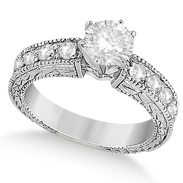 Vintage Heirloom Round Diamond Engagement Ring 14k White Gold (1.75ct)