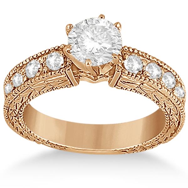 0.70ct Antique Style Diamond Engagement Ring Setting 14k Rose Gold