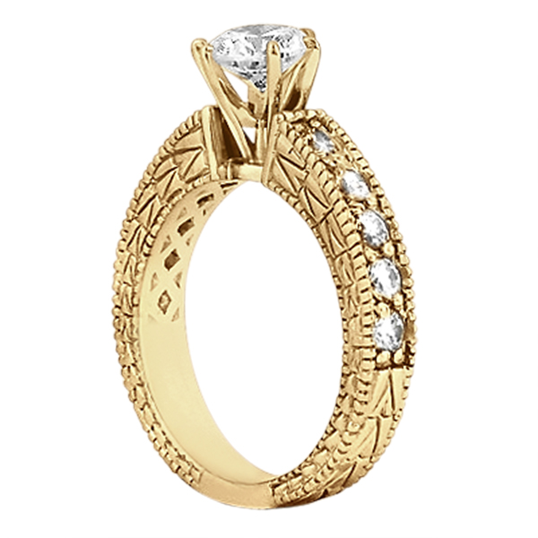 0.70ct Vintage Style Diamond Engagement Ring Setting 18k Yellow Gold