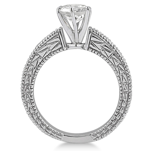 Vintage Heirloom Round Diamond Engagement Ring 14k White Gold (1.00ct)