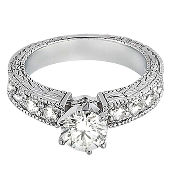 0.70ct Antique Style Diamond Accented Engagement Ring Setting Palladium