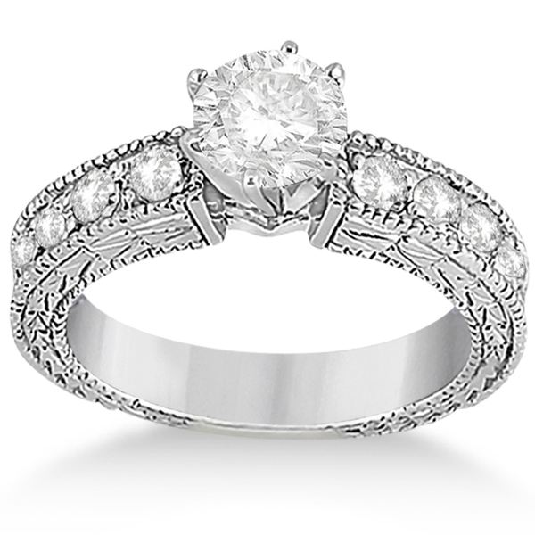0.70ct Antique Style Diamond Accented Engagement Ring Setting Platinum