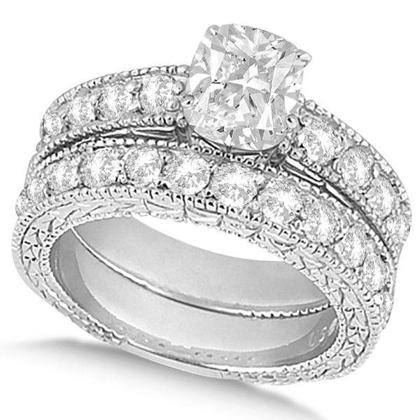 Cushion-Cut Vintage Style Diamond Bridal Set 14k White Gold (2.66ct)