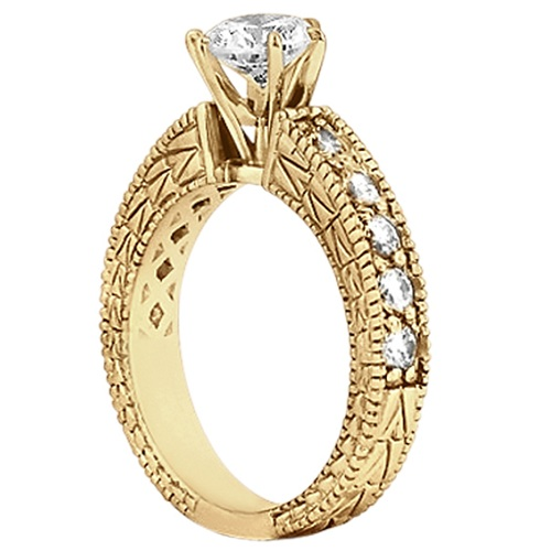 Antique Diamond Engagement Ring & Wedding Band 14k Yellow Gold (1.70ct)