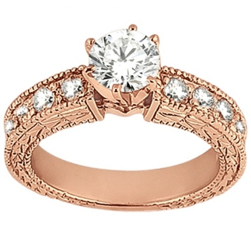 Antique Diamond Engagement Ring & Wedding Band 18k Rose Gold (1.70ct)