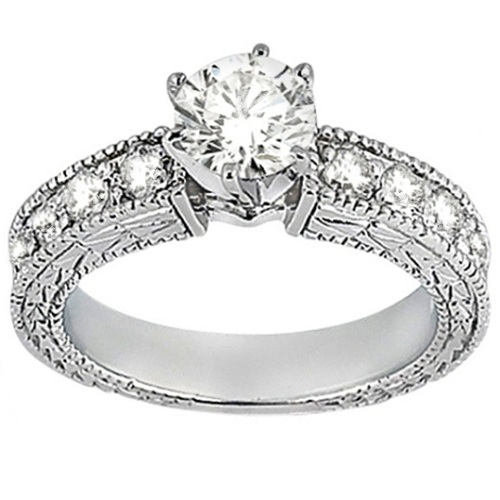 Antique Diamond Engagement Ring & Wedding Band 18k White Gold (1.70ct)