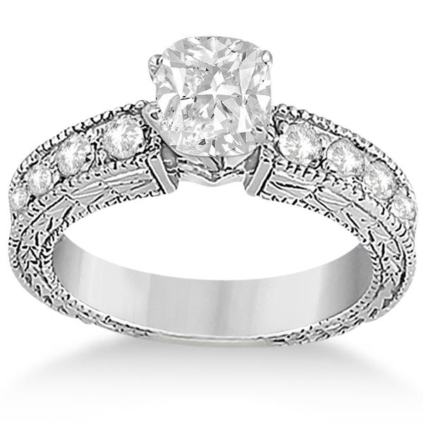 Cushion-Cut Vintage Style Diamond Bridal Set 14k White Gold (1.91ct)