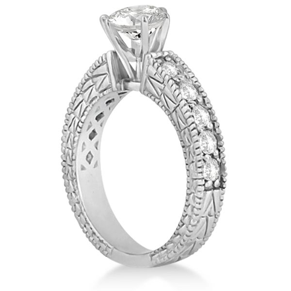 Princess-Cut Vintage Style Diamond Bridal Set 14k White Gold (1.91ct)