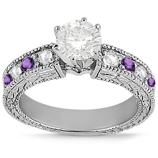 Antique Diamond & Amethyst Engagement Ring 18k White Gold (0.75ct)