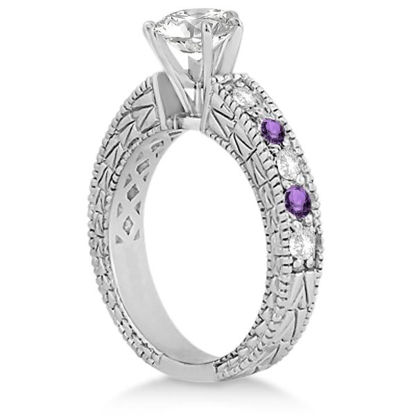 Antique Diamond & Amethyst Engagement Ring Platinum (0.75ct)