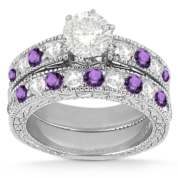 Antique Diamond & Amethyst Bridal Set Platinum (1.80ct)