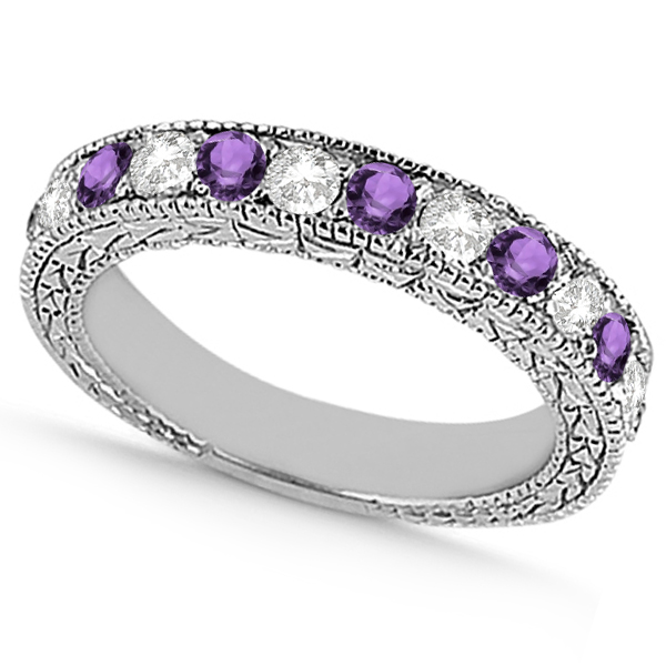 Antique Diamond & Amethyst Wedding Ring Platinum (1.05ct)