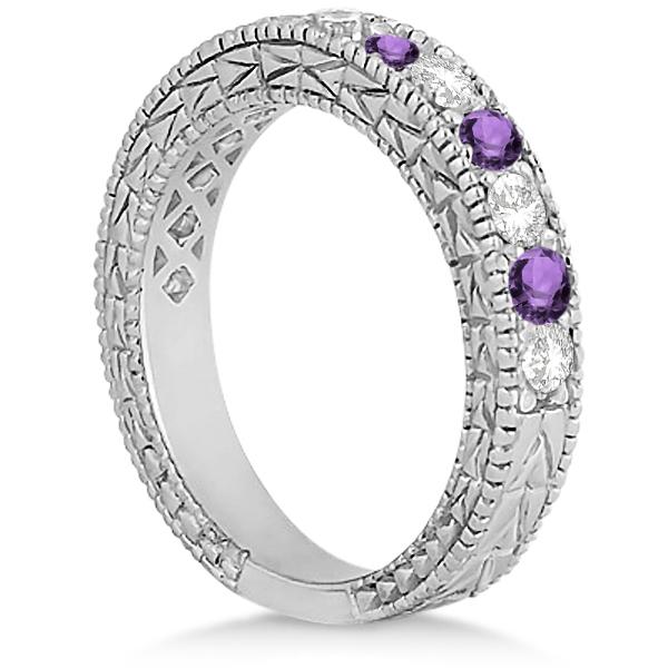 Antique Diamond & Amethyst Wedding Ring Platinum (1.05ct)