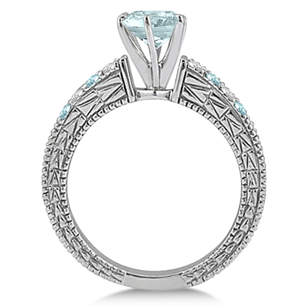 Diamond & Aquamarine Vintage Engagement Ring in 18k White Gold (1.75ct)
