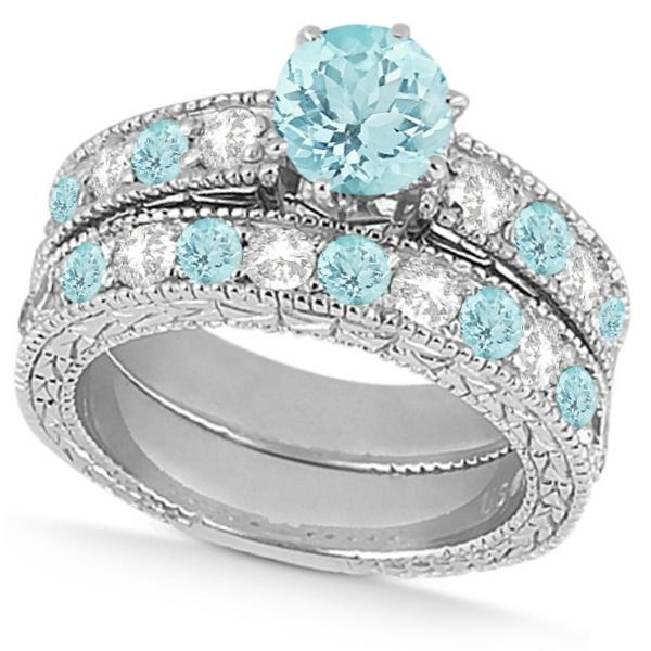 Diamond & Aquamarine Vintage Wedding Bridal Set in 18k White Gold (2.80ct)