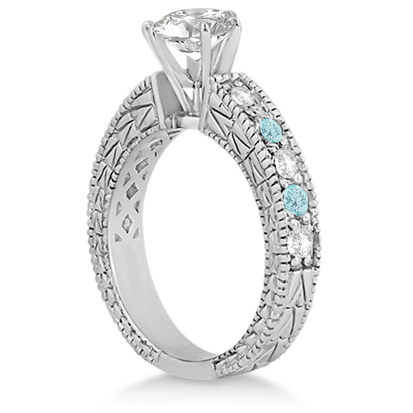 Antique Diamond & Aquamarine Engagement Ring 14k White Gold (0.75ct)