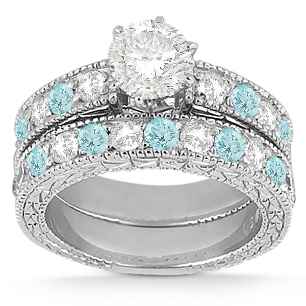 Antique Diamond & Aquamarine Bridal Set 14k White Gold (1.80ct)