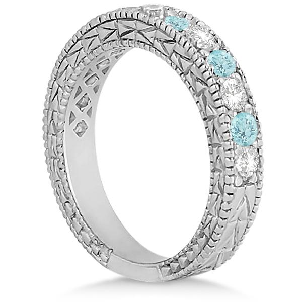Antique Diamond & Aquamarine Wedding Ring 14kt White Gold (1.05ct)