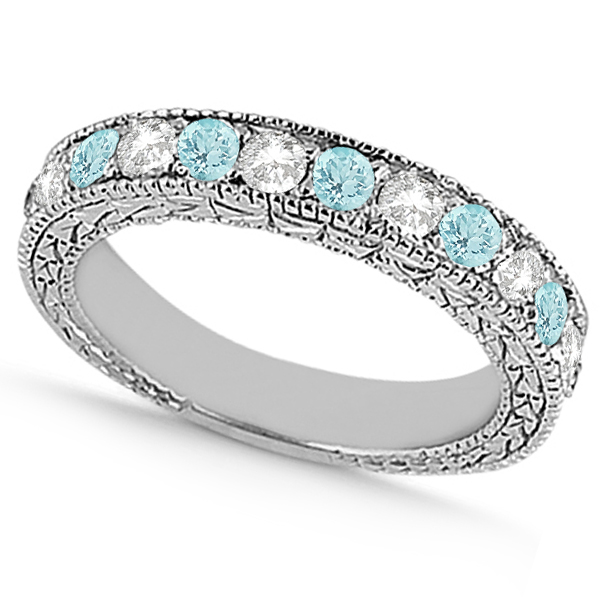 Antique Diamond & Aquamarine Wedding Ring 18kt White Gold (1.05ct)
