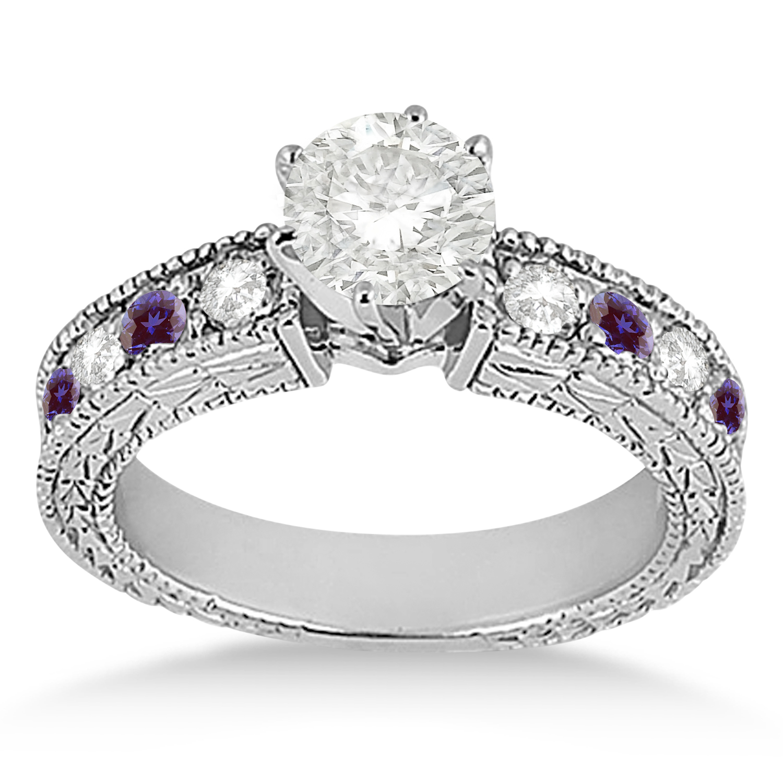 Antique Diamond & Lab Alexandrite Engagement Ring 14k White Gold (0.75ct)