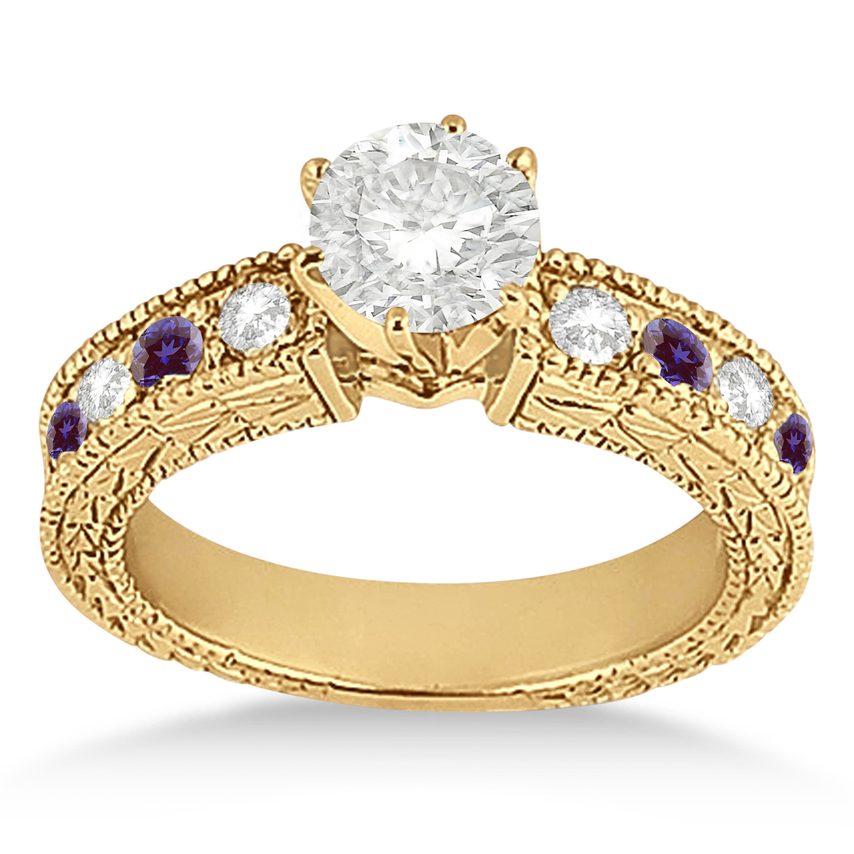 Antique Diamond & Lab Alexandrite Engagement Ring 14k Yellow Gold (0.75ct)