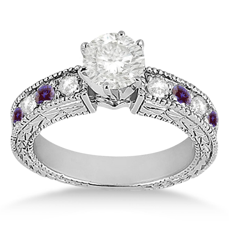 Antique Diamond & Lab Alexandrite Engagement Ring 18k White Gold (0.75ct)