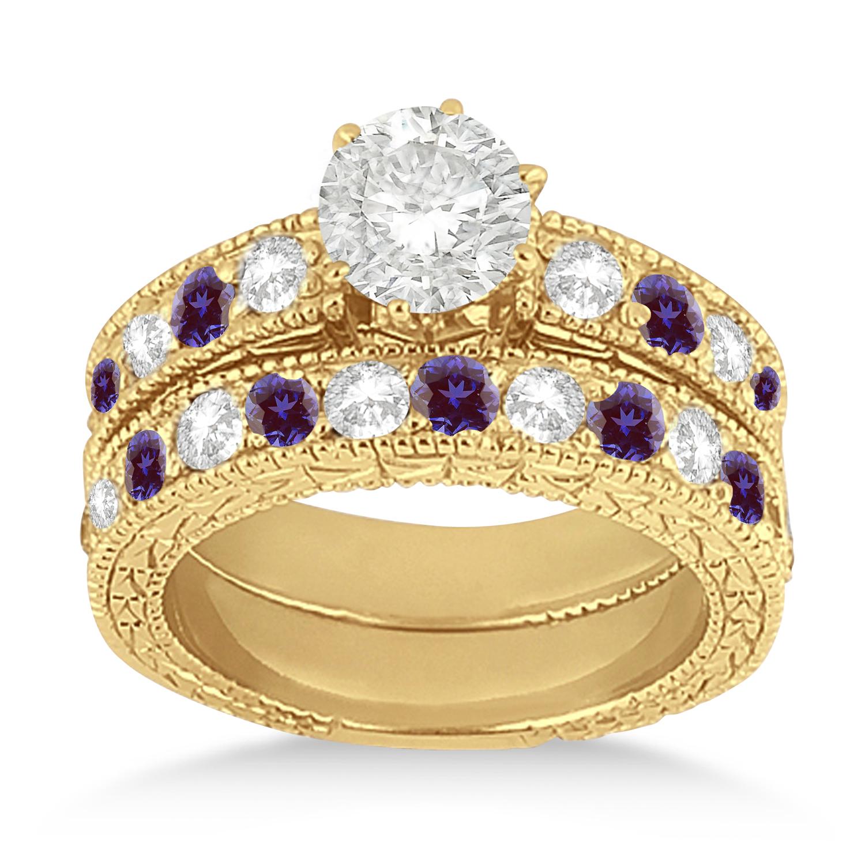 Antique Diamond & Lab Alexandrite Bridal Set 14k Yellow Gold (1.80ct)