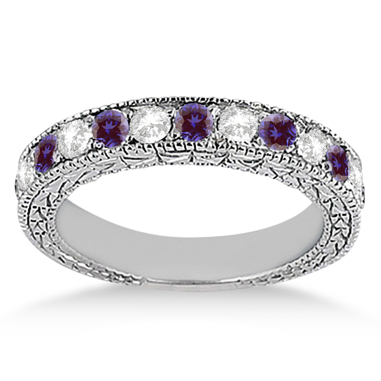 Antique Diamond & Lab Alexandrite Wedding Ring Palladium (1.05ct)