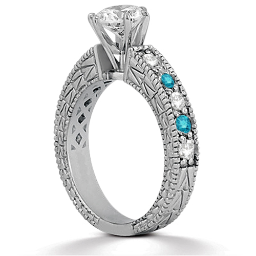White & Blue Diamond Vintage Engagement Ring 14K White Gold 0.70ct