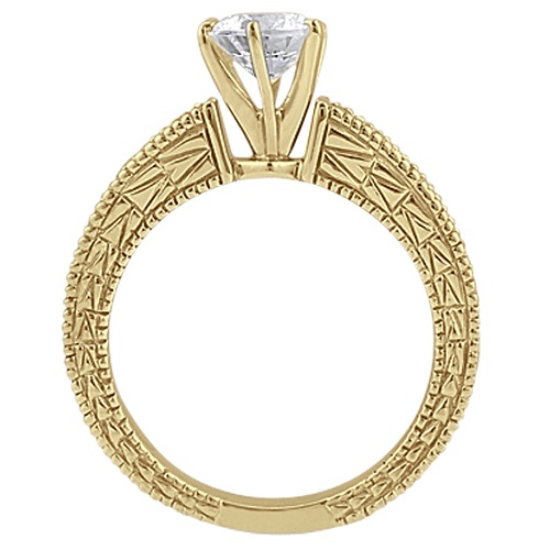 White and Blue Diamond Vintage Engagement Ring 14k Yellow Gold 0.70ct