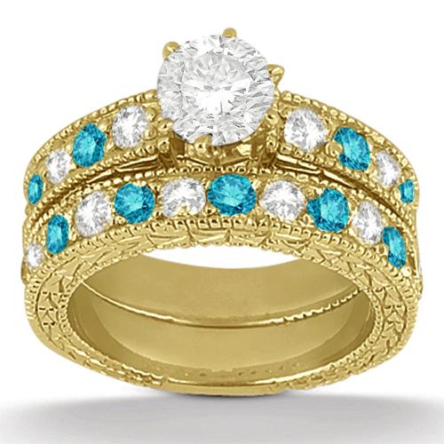 White & Blue Diamond Engagement Ring & Band 14K Yellow Gold (1.61ct)
