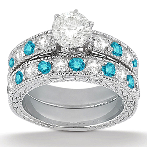 White & Blue Diamond Engagement Ring & Band Palladium(1.61ct)