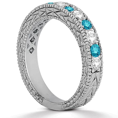 White & Blue Diamond Engagement Ring & Band Palladium(1.61ct)