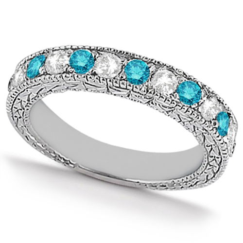 white blue diamond wedding band antique style 14k white gold 091ct - Blue Diamond Wedding Rings