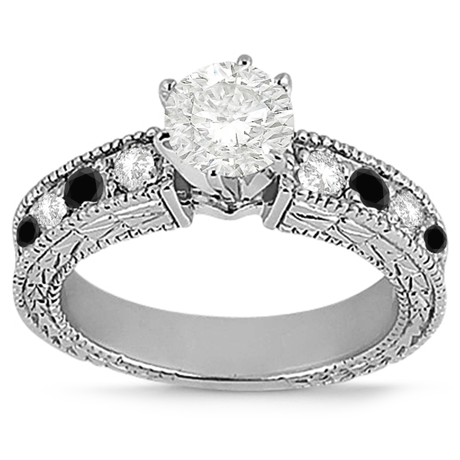 Antique White & Black Diamond Bridal Set 14k White Gold 1 80ct