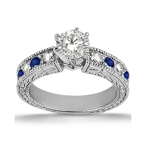 Antique Diamond Blue Sapphire Engagement Ring 14k White Gold
