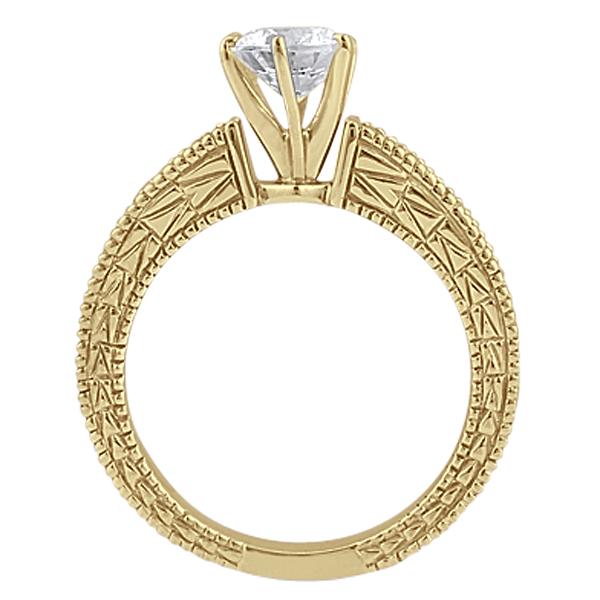 Antique Diamond & Blue Sapphire Engagement Ring 14k Yellow Gold (0.75ct)