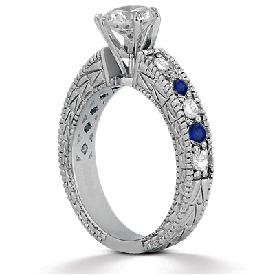 Antique Diamond & Blue Sapphire Engagement Ring 18k White Gold (0.75ct)