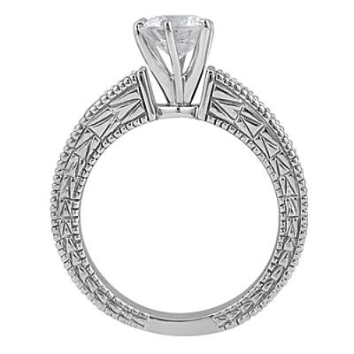 Antique Diamond & Blue Sapphire Bridal Set 18k White Gold (1.80ct)
