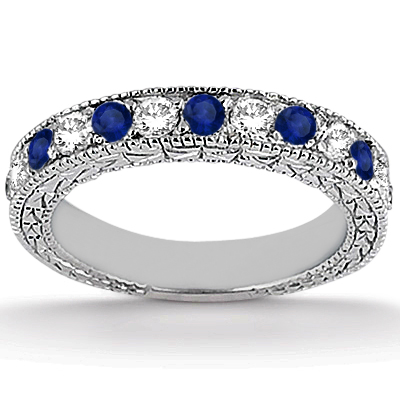 Antique Diamond & Blue Sapphire Bridal Set Palladium (1.80ct)