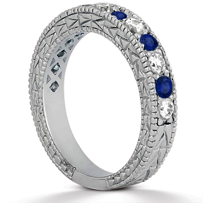 Diamond & Blue Sapphire Vintage Bridal Set 14k White Gold (2.50ct)