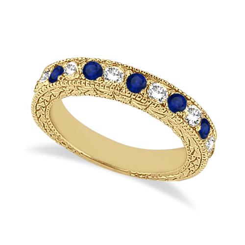 Antique Diamond & Blue Sapphire Wedding Ring 14kt Yellow Gold (1.05ct)