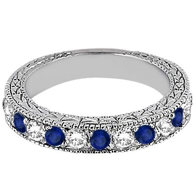 Antique Diamond & Blue Sapphire Wedding Ring 18kt White Gold (1.05ct)