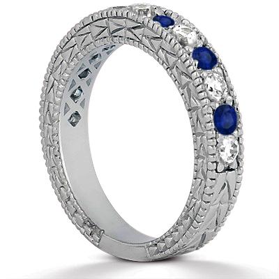 Antique Diamond & Blue Sapphire Wedding Ring Palladium (1.05ct)