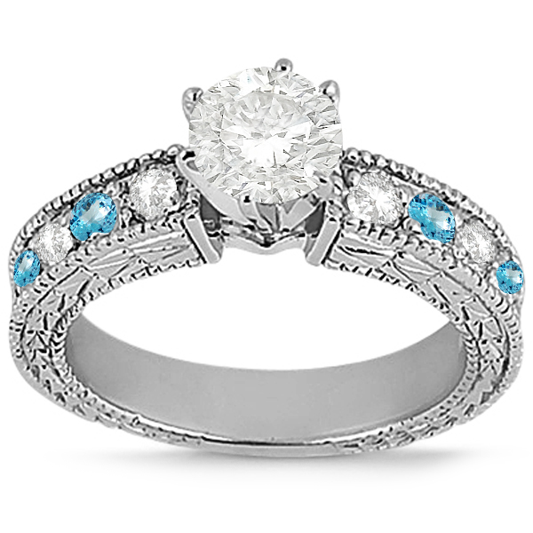 Antique Diamond & Blue Topaz Engagement Ring 14k White Gold (0.75ct)