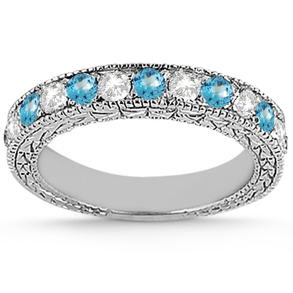 Antique Diamond & Blue Topaz Bridal Set 14k White Gold (1.80ct)